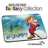 MOUSE PAD Tappetino per Mouse, Misura STANDARD 20x24 cm, base antiscivolo, PRECISIONE e SCORREVOLEZZA MASSIMA, per PC, LAPTOP, NOTEBOOK, con stampa grafica, Disney Special Collection, Brontolo