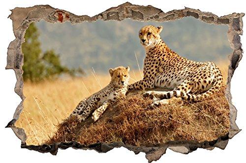 DesFoli Leopard Gepard 3D Look Wandtattoo 70 x 115 cm Wanddurchbruch Wandbild Sticker Aufkleber D297 (Leopard-druck-folie)