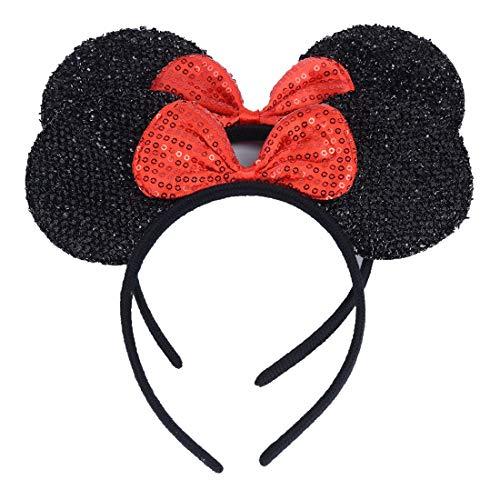 Mabingo satz von 2 mickey minnie mouse ohren stirnband mom haarschmuck baby shower kopfbedeckung schwarzessequin-rot