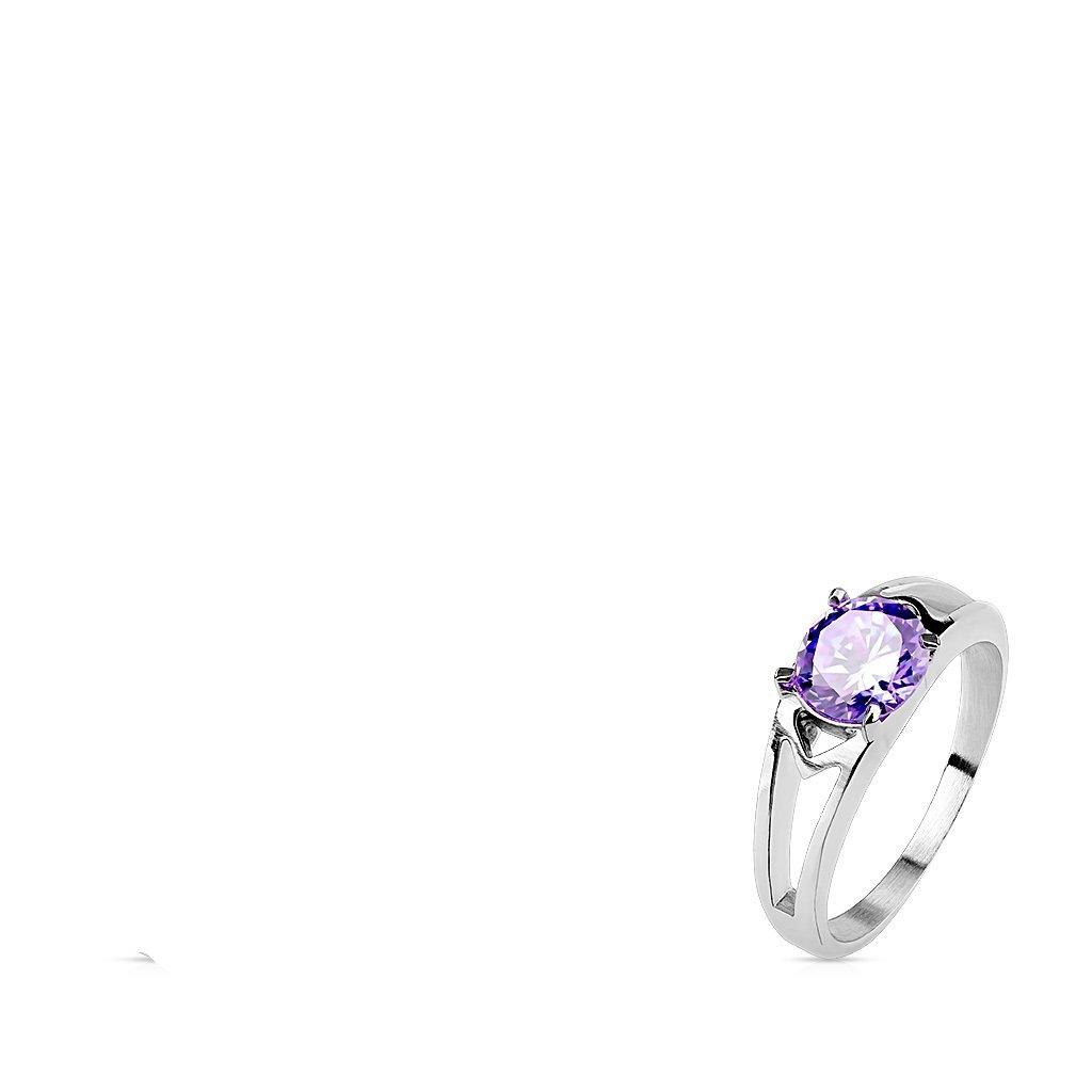 Emeco®–Anello da donna in acciaio inox con zircone CZ Solitaire Prong R m2096, lil