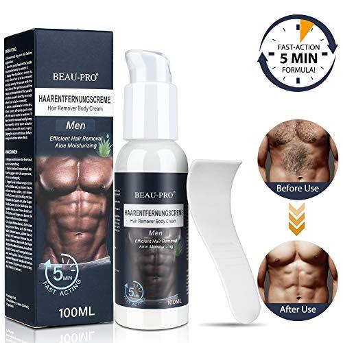 Enthaarungscreme Haarentfernungscreme für Männer, extra sanfte und Einfache Enthaarungsmittel, Aloe feuchtigkeitsspendend Premium Enthaarungscreme für glatte Haut MEHRWEG