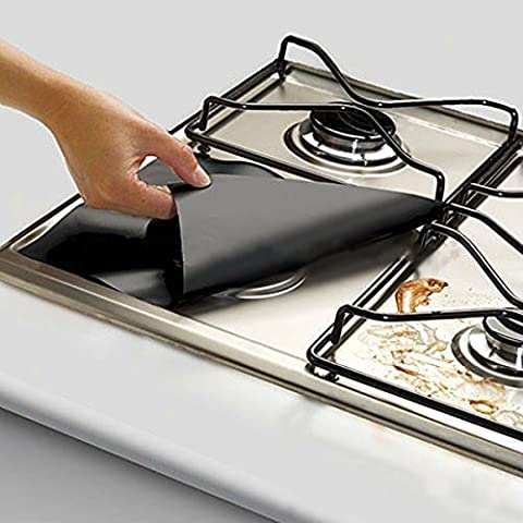 KING DO WAY Reusable Gas Hob Protector Sheet Non Stick Foil Gas Hob Stovetop Protector Oven Liner Black ,Pack of 8,