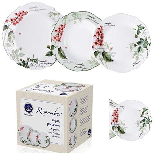 Tafel-Service 6 Personen Porzellan (Teller Set, 6 Essteller, 6 Desserteller, 6 Suppen Teller, Essgeschirr, Ess Service, Blumen Muster, Weiß) ()