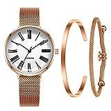6c727f3feedb MAMONA - Reloj de pulsera con correa de malla de oro rosa y esfera blanca  para