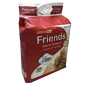 Friends Adult Diapers Premium PLUS+ 10's MEDIUM, Waist Size 28 to 44 inches