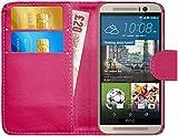 GizzmoHeaven HTC One M9 Leder Hülle Schutzhülle Tasche mit Karte Halter Klappetui Flip Case Cover Etui Brieftasche für HTC M9 mit Schutzfolie und Stylus Stift - Rosa