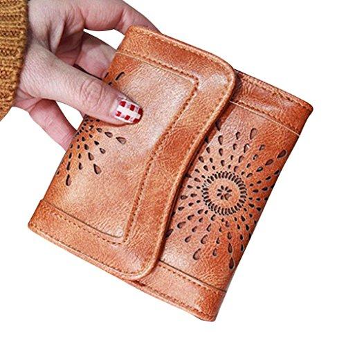 Portafoglio Donna, Tpulling le donne lady cuoio frizione portafoglio breve titolare della carta borsa borsa (Brown) Brown
