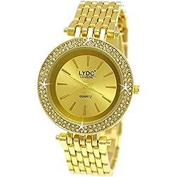 Elegante LYDC London® designer Strass Damenuhr in Gold Damen Uhr inkl Uhrenbox