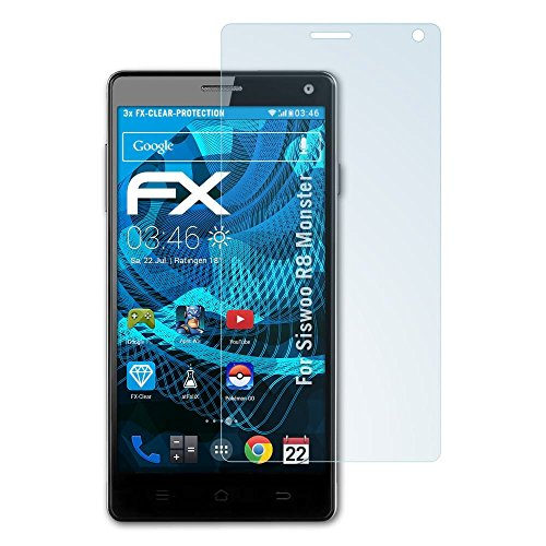 atFolix Schutzfolie kompatibel mit Siswoo R8 Monster Folie, ultraklare FX Bildschirmschutzfolie (3X)