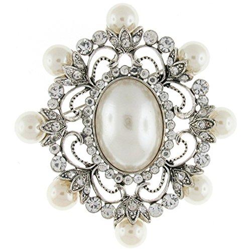 Brooches Store Brosche Silber Perle Kristalle &groß, Oval, viktorianisches Design, Brosche/Anstecker