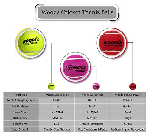Woods Double Power Cricket Tennis Balls (Hard, Heavy) (6)