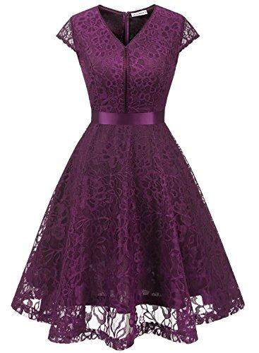 ecdab21f5f MuaDress 6004 Fashion Vestido Corto De Fiesta Elegante Mujer De Encaje  Escote en V Estampado Flor
