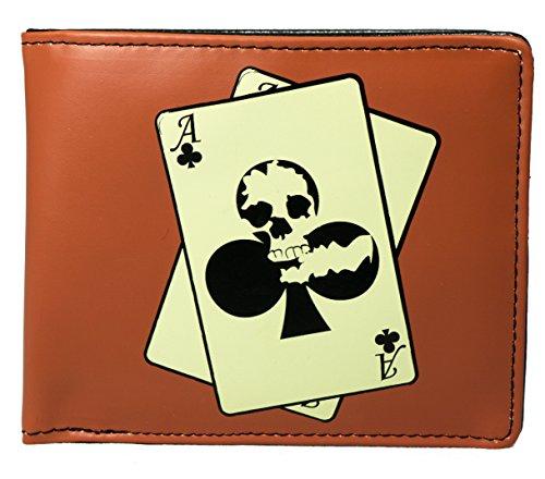 Shagwear Herren Geldbörse, Mens Wallet: Verschiedene Farben und Designs: (Black Jack,Rot/Skull Poker)