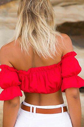 Damen Kurzarm aus der Schulter kurzes T-Shirt Tops Red