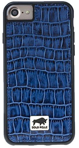 "Solo Pelle iPhone 7 / 8 Case Lederhülle Ledertasche Backcover "" Flex "" aus echtem Leder mit Kroko-Prägung in Schwarz inkl. edler Geschenkverpackung Kroko-Blau"
