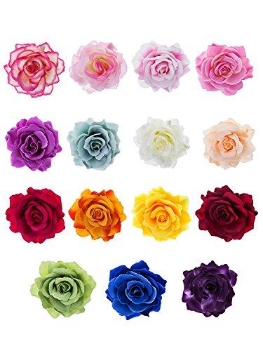 15 Stücke Rosen Blumen Haarnadel Haarblume Clip Blumen Pin Up Blumen Brosche (Vivid Blau Kleidung)