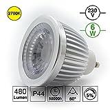 iluminize GU10 LED-Spot: sehr hochwertiger, langlebiger und treiberloser COB LED-Spot mit Reflektor und Optik, 6W, Fokuslinse 60°, warm-weiß 2700K, 480 Lumen, Hochvolt 230V, dimmbar TRIAC 5%-100%, 50.000 Stunden Lebensdauer und 5 Jahre Garantie (2700K 60°)