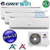 Climatizzatore inverter trial split LOMO Wi-Fi 9000 + 9000 + 12000 Btu GREE R32 classe A++/A+
