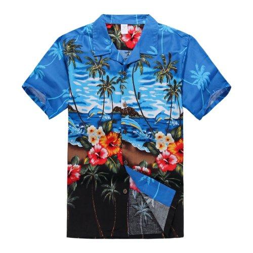 Hombres-Aloha-camisa-hawaiana-en-Delfn-y-Paisajes-Azul-XL
