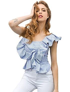 Simplee Apparel mujeres blusa de un hombro fuera de la colmena de verano Casual Camiseta Stripe Frill Top