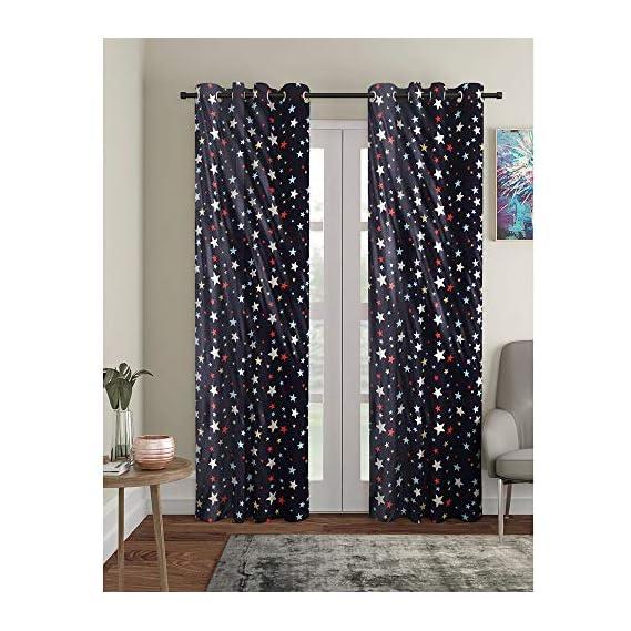 Aurome - Pack of 2, Glow in The Dark, Radium Print, Kids, Childrens Room Eyelet Door Curtain Set (7 ft), All Over Stars Print, Navy Blue