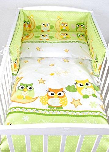 BABYLUX Bettwäsche Bezug 2 Tlg. 100 x 135 cm Kinderbettwäsche Bettwäsche Bettset Babybettwäsche (55. Eule Grün)