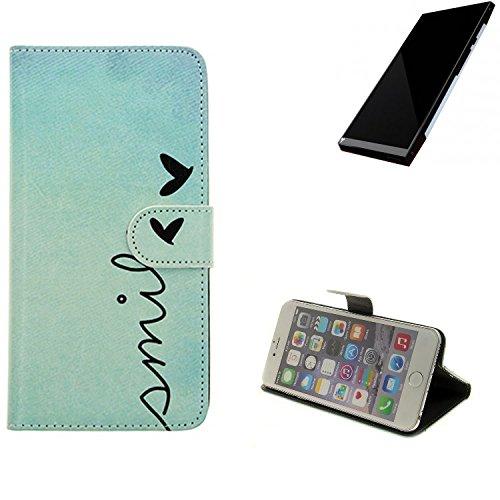 K-S-Trade® für Turing Robotic Industries Turing Phone Wallet Case Schutz Hülle Flip Cover Tasche ''Smile'', türkis