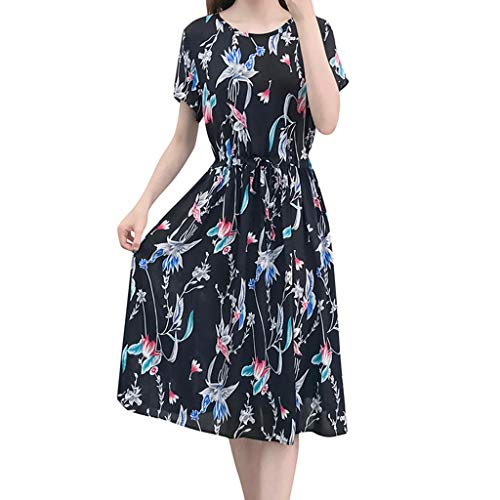 kleid Elegant ÄRmellos Casual Strandkleid Minikleid Sommer Blumenmuster Rompers ÄRmellos Elegant Schlitz Vintage Boho Strandkleid Frauen Tshirt Kleid ()