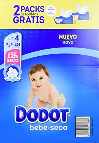 Dodot - Pack de Pañales Dodot, 124 unidades + 2 Packs de Toallitas, 9-14 kg