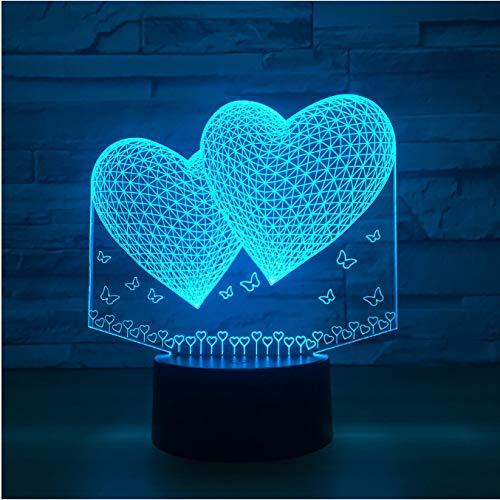 La lámpara de la noche de la lámpara del doble 3d del corazón dos llevó para el tacto led de los amigos usb