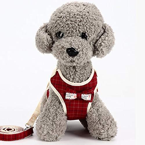Stil Brustgurt (CZWYF Haustier Leine Haustier Weste Heimtierbedarf Haustier Sicherheitsgurt Hund Brustgurt Kleiner Hund Teddy Weste-Stil Bogen Abendkleid (Color : Red, Size : S))