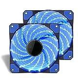 Kyerivs Lot de 2boîtiers d'ordinateur de performance ventilateur silencieux, 120mm, durée de vie Roulement, Silencieux ventilateur de refroidissement efficace, profil spécial haute Lames pour un maximum de Air Flow- [LED bleue]