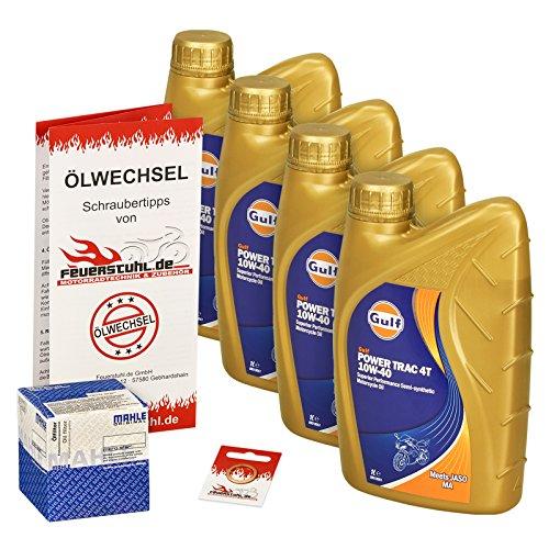 Gulf 10W-40 Öl + Mahle Ölfilter für Kawasaki GPZ 500 S, 94-02, EX500D EX500DE - Ölwechselset inkl. Motoröl, Filter, Dichtring