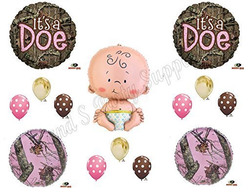 Its A Doe Camouflage Baby Girl Shower Balloons Decoration Supplies Mossy Oak By Anagram