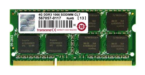 Transcend 4 GB DDR3-1066 MHz RAM, Memory Module for Laptop