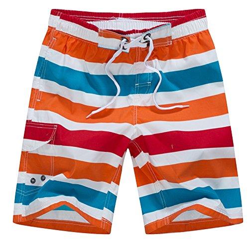 HOOM-Nouveau pantalon de plage d'été occasionnels Shorts hommes Camo coton taille lâche cinq pantalons shorts Orange and blue striped g