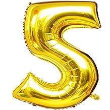 """Langxun 40 """"número 5 aire-llenado y globos de Mylar del oro del helio para las fuentes de la fiesta del cumpleaños"""
