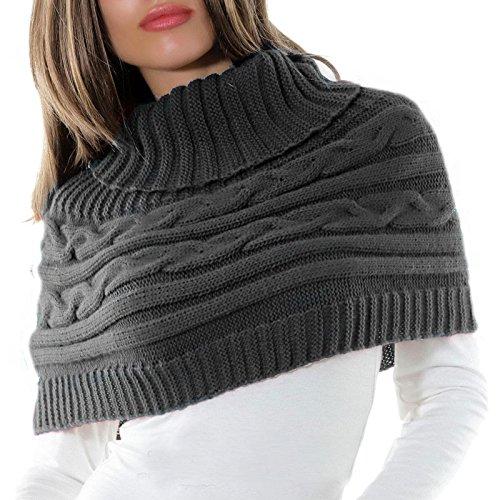 Toocool - Coprispalle donna cappa collo sciarpa bolero tricot dolcevita poncho AS-0430 [Nessuno,grigio scuro]