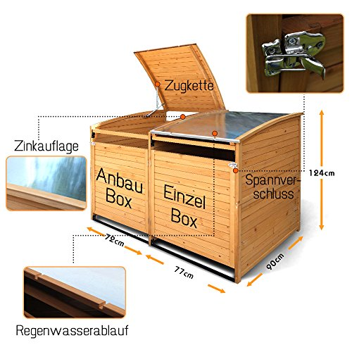 Mülltonnenbox Holz 240 L Gartenbox Mülltonnenverkleidung Mülltonne (Einzelbox + 2xAnbaubox) - 6