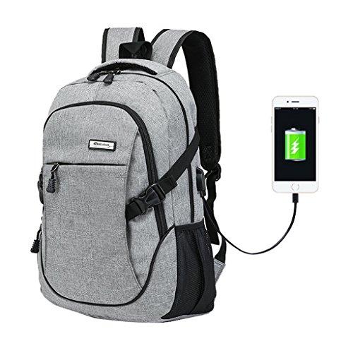 Super moderner Unisex Nylon-Rucksack mit USB-Ladegerät-Port, Laptoptasche für Mädchen, Sport-Rucksack Größe L Grau