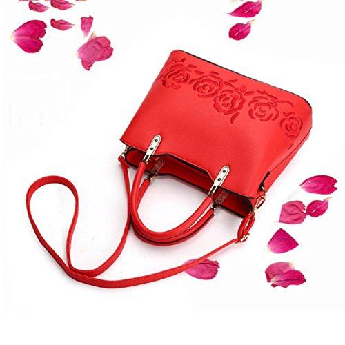 Mode Damen Einfaches Große Taschen Personalisierte Rosen Stickerei Schulter Kurierbeutel Wild Handtaschen Buntes Quadratisches Paket Red