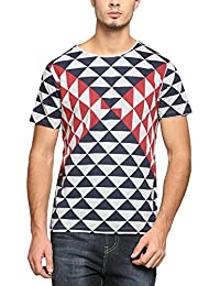 Abof Men Blue & Grey Melange Printed Regular Fit T-shirt