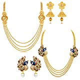#3: Sukkhi Pretty 4 String Gold Plated Set of 2 Necklace Set Combo For Women