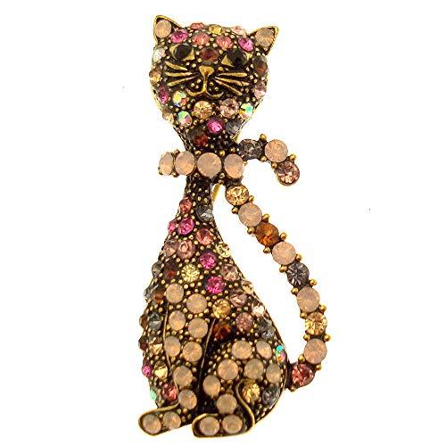 Acosta–stile vintage con cristalli swarovski rosa opale–modern spilla a forma di gatto, in confezione regalo