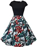 HomRain Damen 50s Retro Vintage Cocktail Rockabilly Swing Party Basic Kleid Black-White Red Flower 2XL