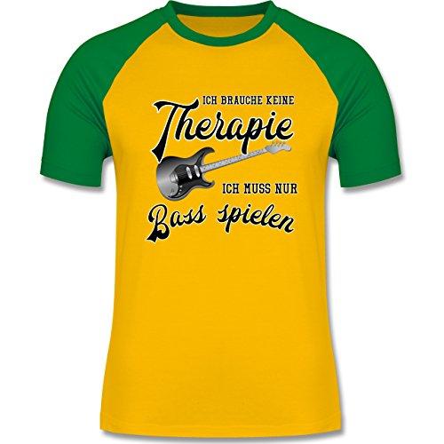 Shirtracer Instrumente - Ich Brauche Keine Therapie Ich muss Nur Bass Spielen - Herren Baseball Shirt Gelb/Grün