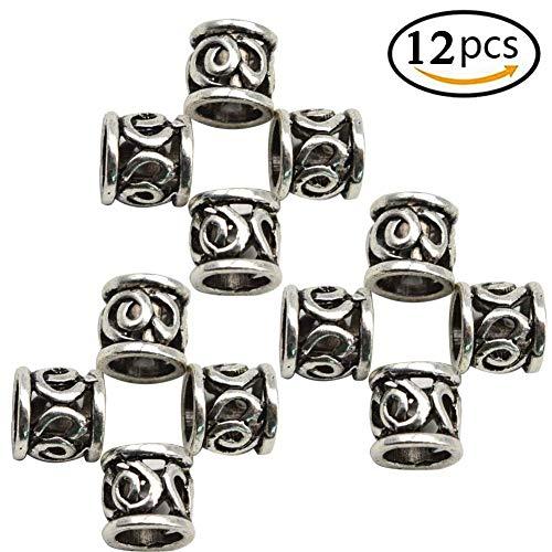 r Haar Bart 12 PCS Perlen für Armbänder Anhänger Halskette Norse Wikinger Haar DIY, Flechten Perlen für Zöpfe Antik Silber Viking Beads Kits ()