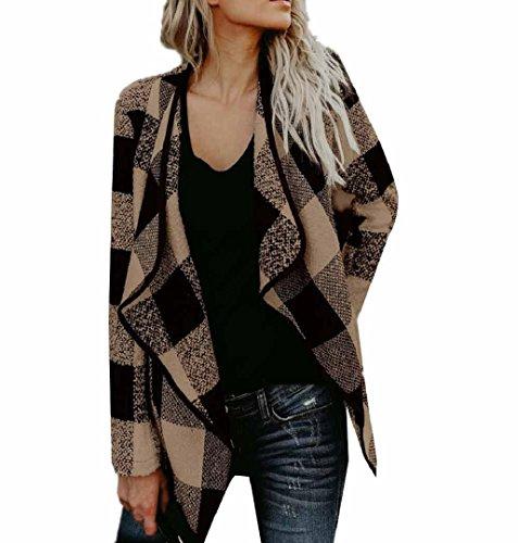 Preisvergleich Produktbild ZEZKTDamen Plaid Strickjacke Revers Damen Casual Freizeit Cardigan Frauen Kurz Mantel Jacke Lange Ärmel Outwear Warm Halten Jacke Stitching Mode Beiläufig Jacke (M, Khaki)
