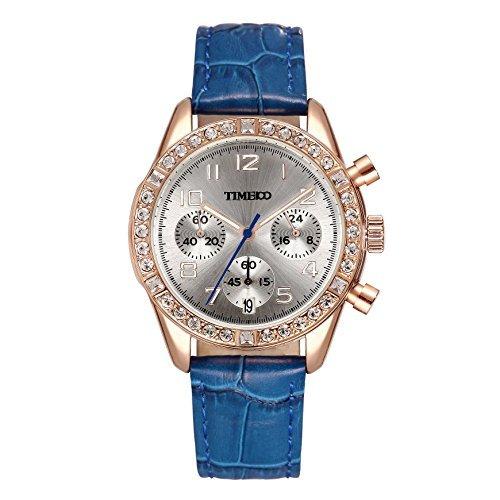 be8a44bc50387 Time100 Montre Quartz Femme et Fille incrustée de Strass Aiguilles  fluorescentes Mode multifonctionelle Calendrier et chronomètre