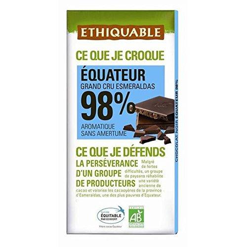 Scop Ethiquable Chocolat noir 98% cacao Equateur bio 100g - ( Prix Unitaire ) - Envoi Rapide Et Soignée